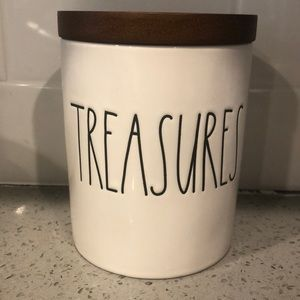 Rae Dunn Treasures container with wood lid